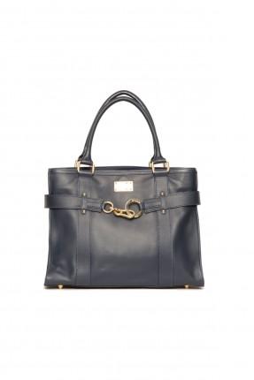 حقيبة جلد نسائية - ازرق داكن