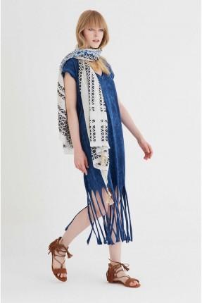 فستان سبور مع شراشيب - نيلي