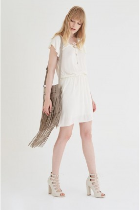 فستان سبور قصير - كريم