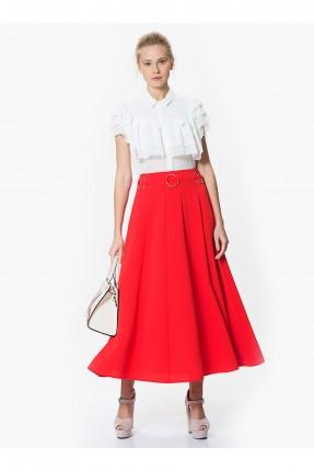 تنورة طويلة حزام حلقات - احمر