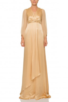 فستان رسمي تول الاكمام