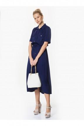فستان بياقة رسمية - نيلي