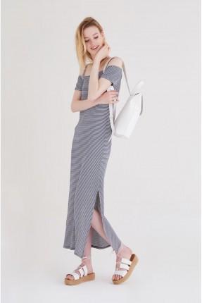 فستان سبور طويل مقلم - كحلي