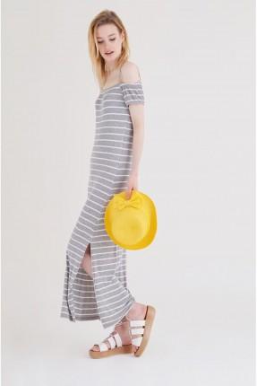 فستان سبور طويل مقلم