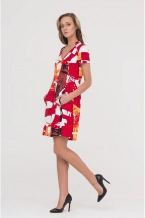 فستان نصف كم - احمر