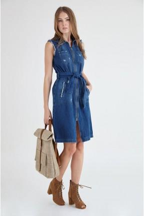 فستان جينز حفر - ازرق