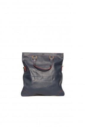 حقيبة يد جلد نسائية - ازرق