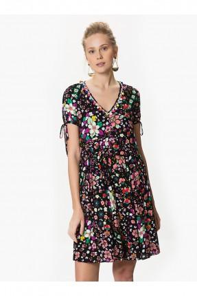 فستان بنقشات ياقة v