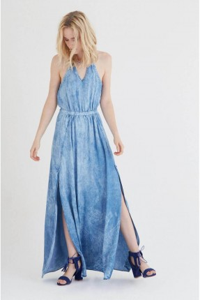 فستان سبور طويل جينز - ازرق