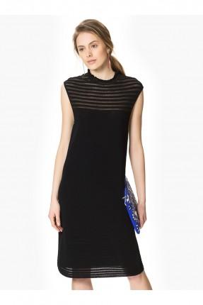 فستان قصير حفر شفاف - اسود