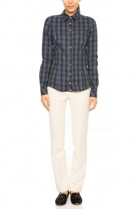 قميص نسائي كاروهات - ازرق