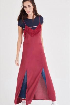 فستان طويل - خمري