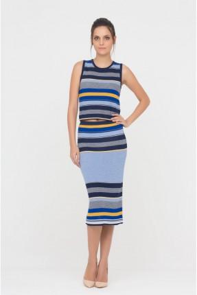 تنورة طويلة مقلمة - ازرق