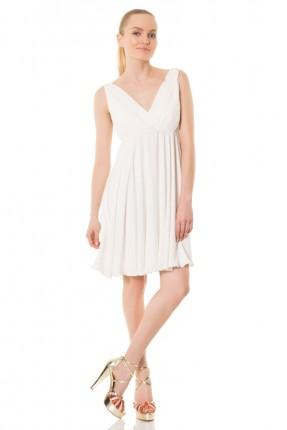 فستان ياقة v - ابيض