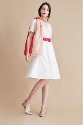 تنورة قصيرة مطاط - كريم