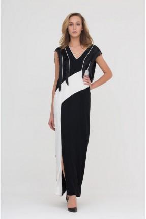 فستان ياقة v - اسود