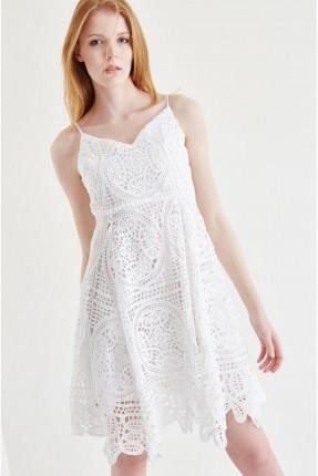 فستان قصير  - ابيض