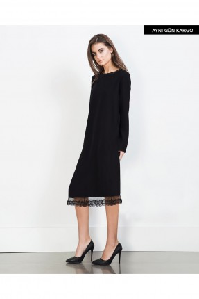 فستان قصير سبور - اسود