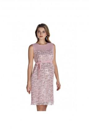 فستان حامل براق قصير - زهري
