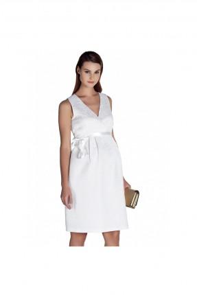 فستان حمل ياقة v - ابيض