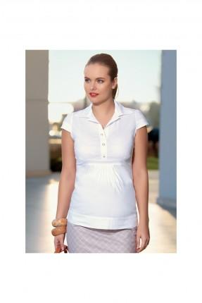 بلوز حامل موديل قميص - ابيض