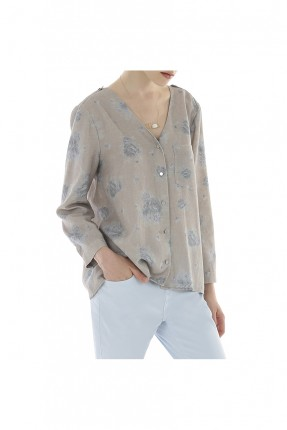 قميص نسائي ياقة v - رمادي