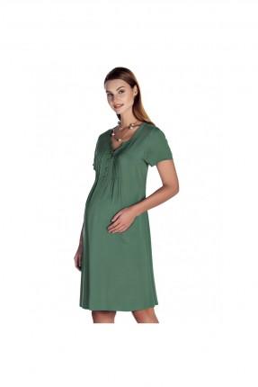 فستان حمل نص كم - زيتي