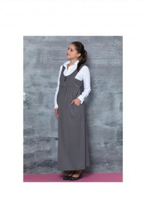 فستان حامل طويل - رمادي