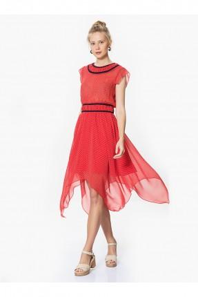 فستان منقط - احمر