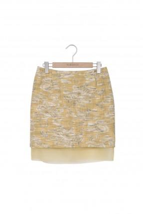 تنورة قصيرة بنقش - اصفر