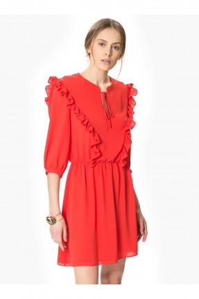 فستان مع ربطة عنق - احمر