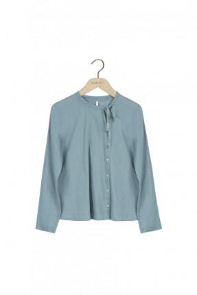 قميص نسائي مع عقدة - ازرق