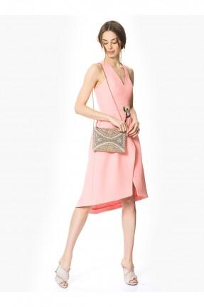 فستان ياقة v - وردي