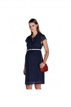 فستان حمل مع ازرار - نيلي