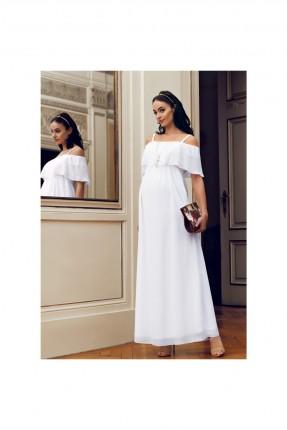 فستان حامل باكتاف مفتوحة - ابيض