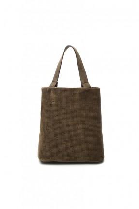 حقيبة يد نسائية  جلد - زيتي