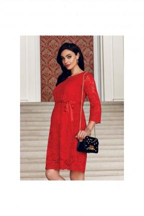 فستان حامل دانتيل كم طويل - احمر