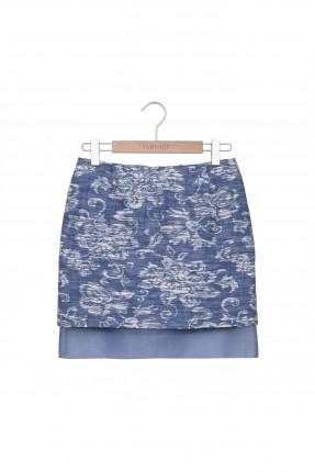 تنورة قصيرة منقش - ازرق