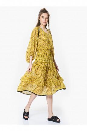فستان منقط ياقة v - اصفر