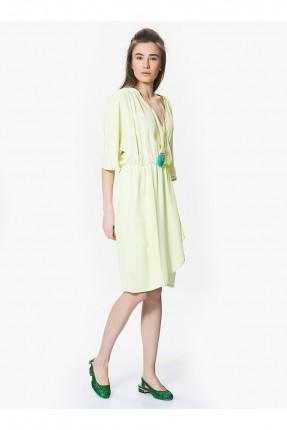 فستان مزموم الخصر - اصفر