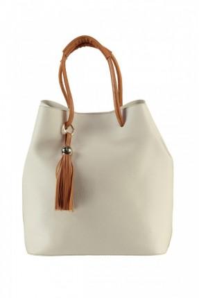 حقيبة يد نسائية كبيرة - ابيض
