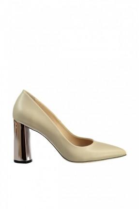 حذاء نسائي مع كعب - بيج