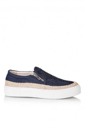 حذاء نسائي مع سحاب - نيلي