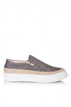 حذاء نسائي مع سحاب - رمادي