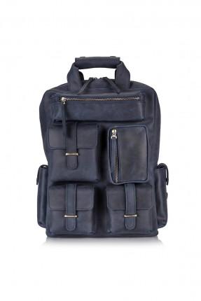 حقيبة ظهر جلد رجالية - ازرق داكن