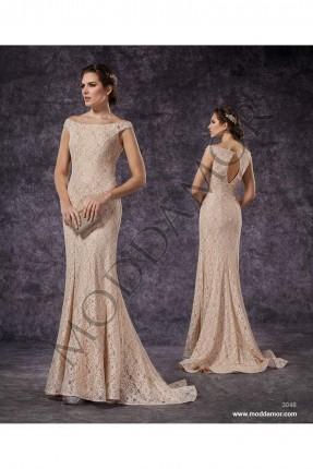 فستان سهرة طويل - بيج
