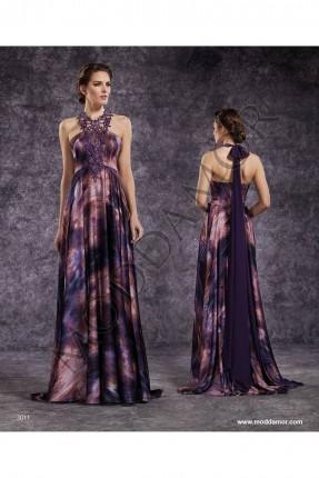 فستان سهرة طويل منقوش - موف