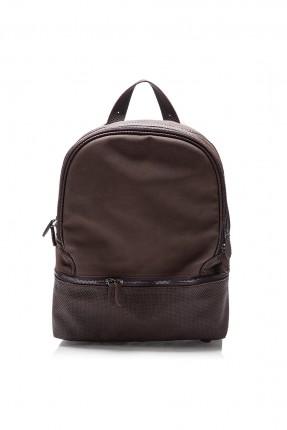 حقيبة ظهر جلد رجالية - بني