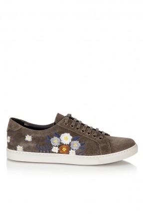 حذاء نسائي مطرز - زيتي