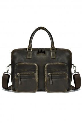 حقيبة يد جلد رجالي - بني